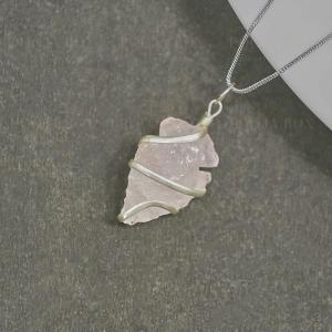 Raw Rose Quartz Crystal Pendant